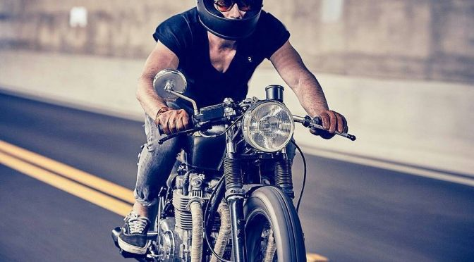 @bjgolnick on his '74 #CB550 . #caferacer #caferacers #caferacersofinstagram #caferacersculture #caferacerbuilds #vintage #vintagestyle #vintagefashion #motocycle #moto #motos #vans #motorcycles #oldstyle #oldschool #bratstyle #motorbike #motor #helmet