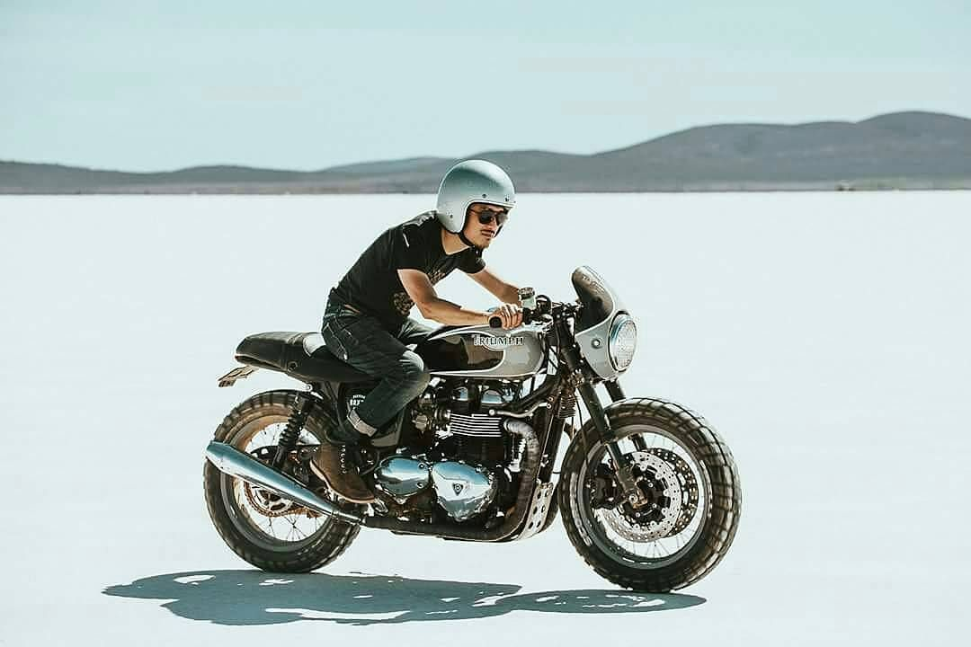 By @jasonlphotos - The indescribable feeling of riding on the salt. Thanks @jimmy.goode for the lend of this mad Thruxton! With @adventure.machine. Thanks @donnayeatman for helping me capture this moment!
