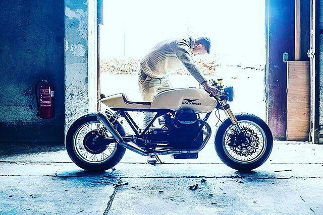 By @cafe_911 - This is Michael Lind and his 'creamy smooth' 1984 Moto Guzzi SPII ⚙️☕️ from the KnuckleGrease Garage ⚡️ via @pipeburn. . #Motoguzzi #caferacer #caferacers #caferacerstyle #caferacersculture #caferacerbuilds #vintage #vintagestyle #vintagefashion #motocycle #moto #motos #motorcycles #oldstyle #oldschool #bratstyle #motorbike #motor #helmet