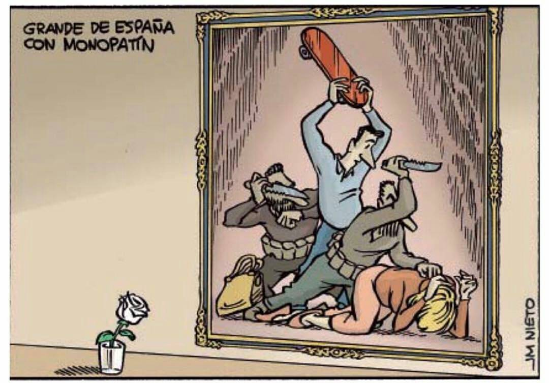 """Today we change the for a for fighting back against a cowardly act. """"The great Spaniard with the skateboard."""""""