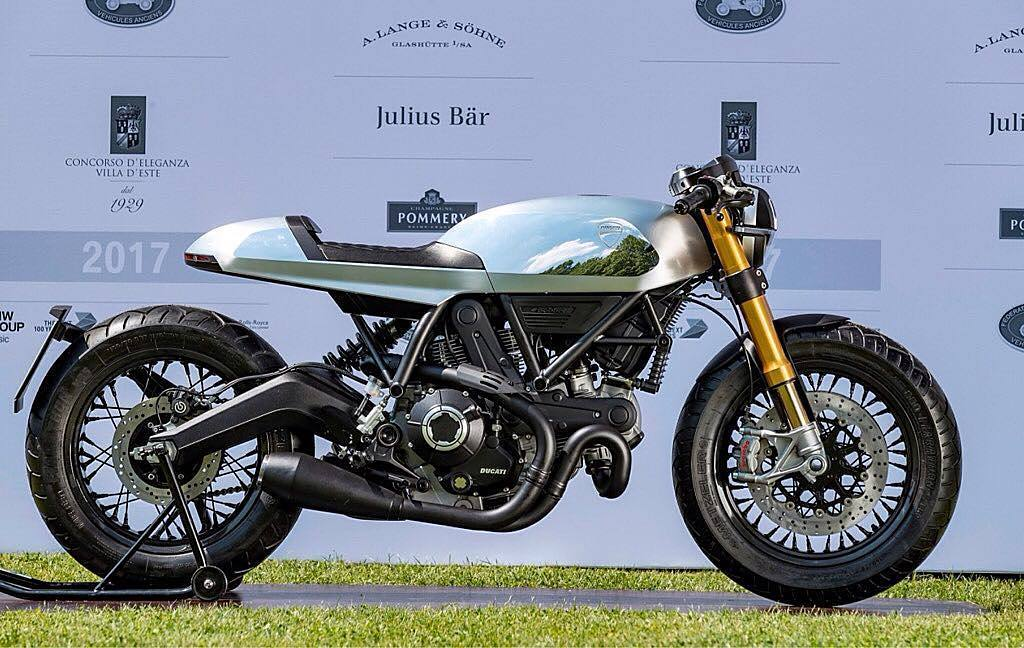 "By @scramblerducati / An unprecedented Café Racer wins the Villa Erba trophy and takes first place in the category for ""Motorcycle Design – Concept Bike and New Prototypes"