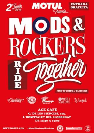 MODS & ROCKERS RIDE TOGETHER el 2 de junio en el ACE CAFÉ BCN